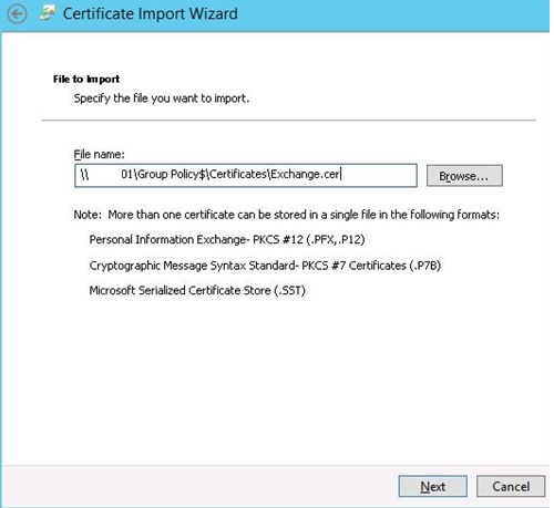 certificate import wizard in gpo