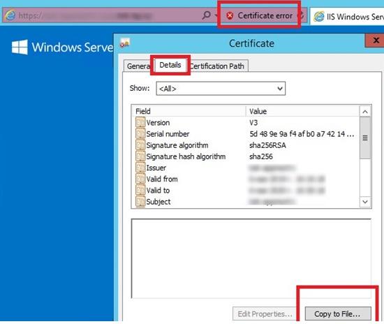 copy ssl cert to a cer file from internet explorer