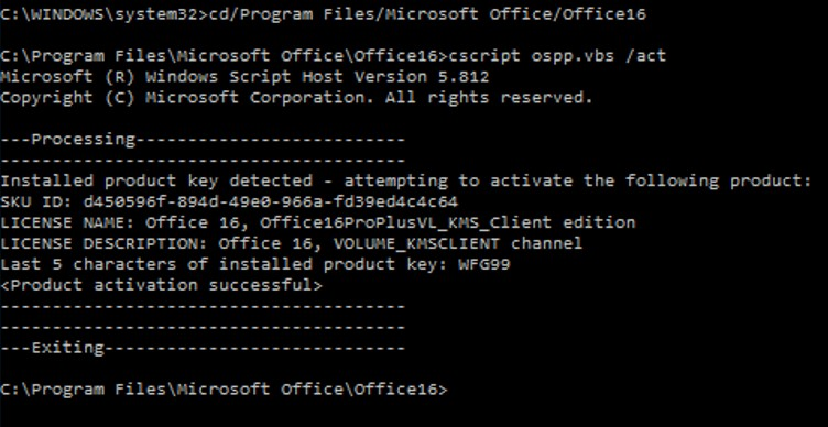 cscript ospp.vbs - activating office2016 on KMS from cmd