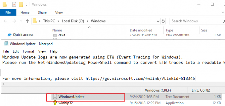 empty windowsupdate.log file in windows 10 and windows server 2016/2019