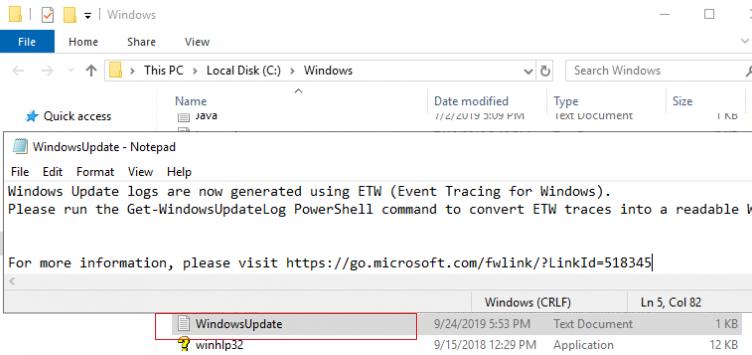 empty windowsupdate.log file in windows 10 and windows server 2016/2019