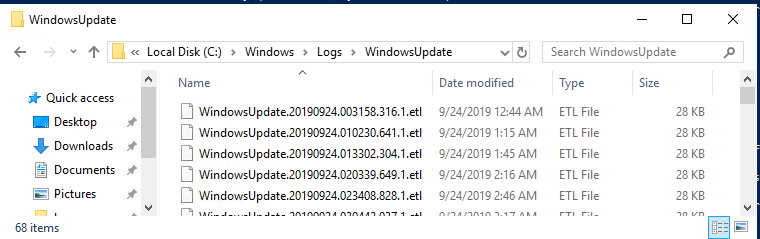 etl files in the C:\WINDOWS\Logs\WindowsUpdate