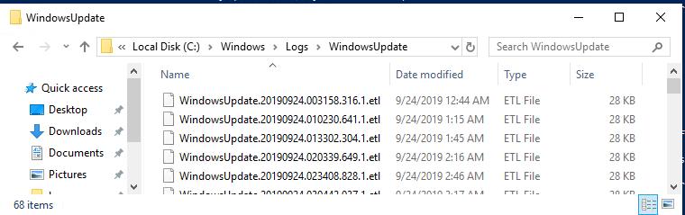 etl files in the C:\WINDOWS\Logs\WindowsUpdate