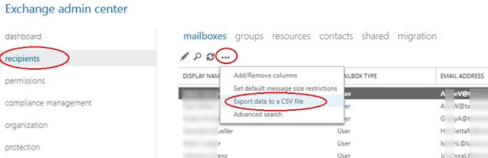exchange admin center on-premises: export address list to csv file
