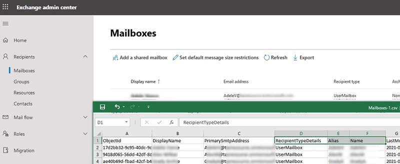 office365 (microsoft 365): export mailbox list to excel or csv file