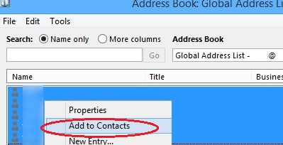 adding global address list to personal contacts in outlook