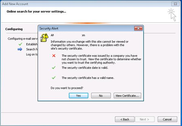 Outlook certificate warning