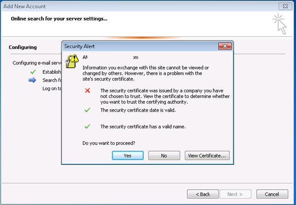 Outlook certificate warning