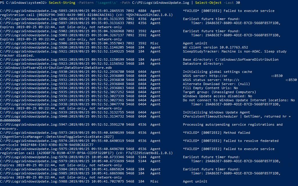 parsing windowsupdate.log with powershell