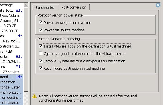 VMware Converter: Synchronize changes when perfoming P2V or