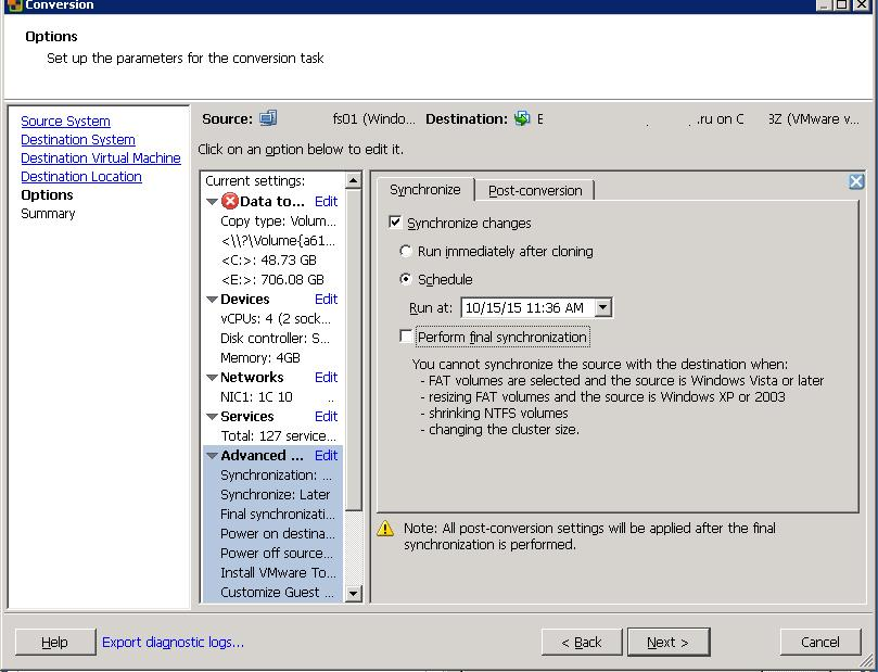 vmware converter synchronization settings