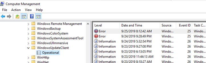 WindowsUpdateClient -> Operational logs in event viewer