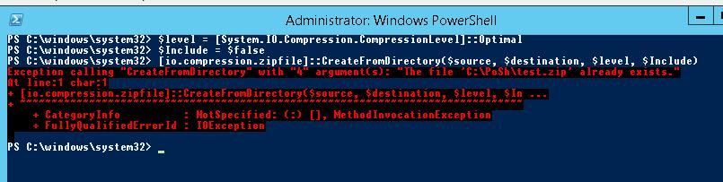 PowerShell: ZIP Archive CompressionLevel
