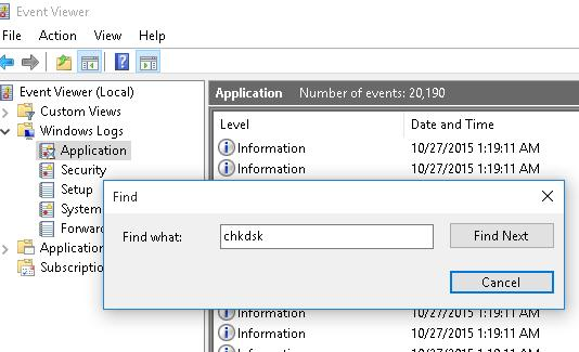 find events with key chkdsk