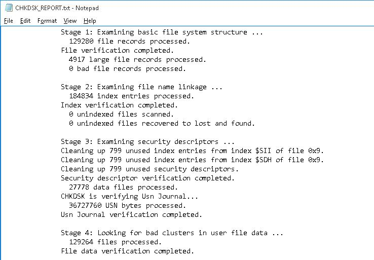 chkdsk text report windows 10