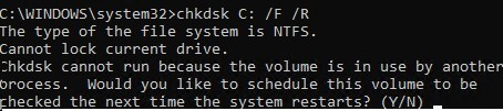 chkdsk - shedule system volume check on next reboot