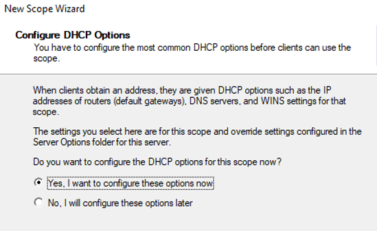 configure additional dhcp scope options