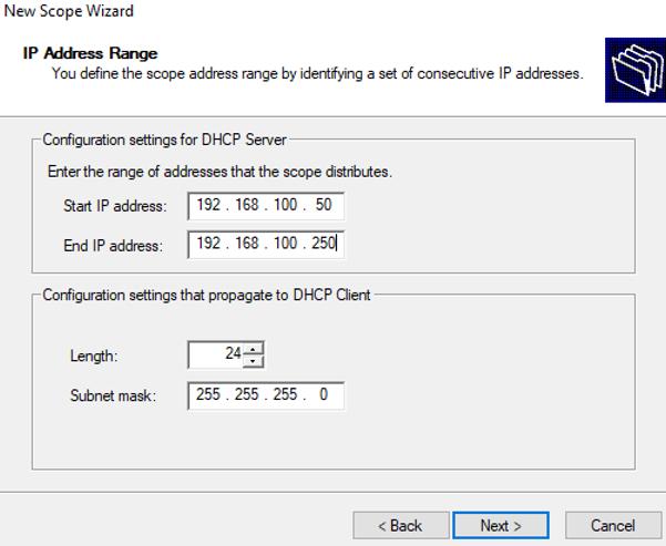 configure dhcp scope IP address range and subnet mask