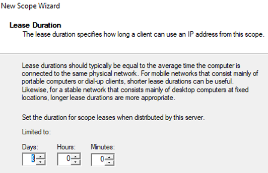 configure lease duration for dhcp scope