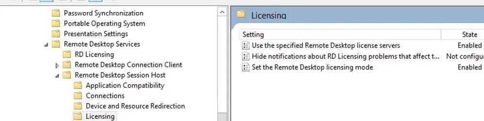 configure rds licensing settings via gpo