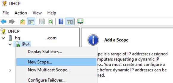 create new dhcp scope on windows server 2019