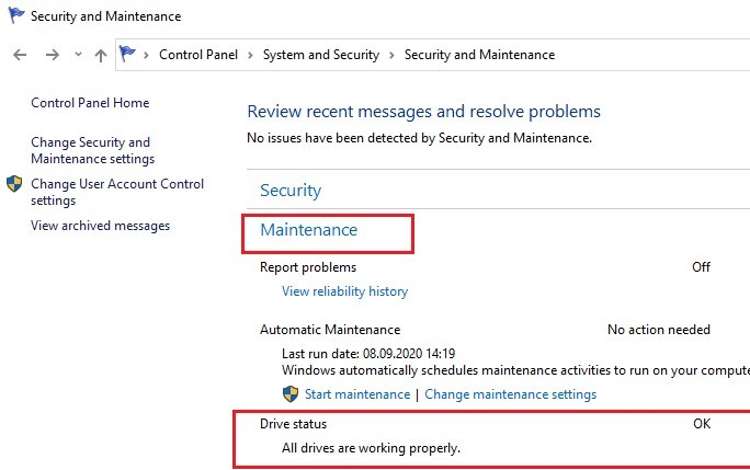 drive check status in the automatic maintenance task on windows 10