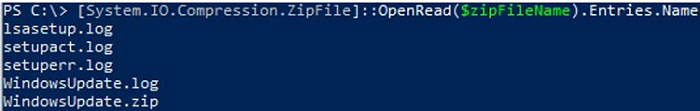 How to view contents of ZIP archive with powershell?