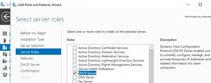 install DHCP Server role on Windows Server 2019