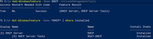 Install-WindowsFeature dhcp - install role using PowerShell