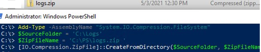 [IO.Compression.ZipFile]::CreateFromDirectory .net class to create zip archive