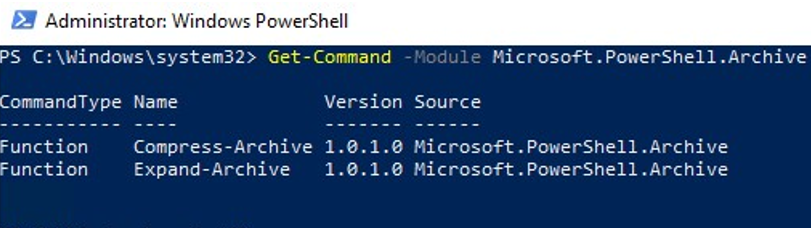 Microsoft.PowerShell.Archive module
