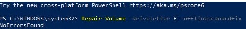 powershell repair-volume cmdlet check disk for errors