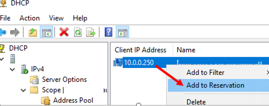 reserve a leased IP address in dhcp