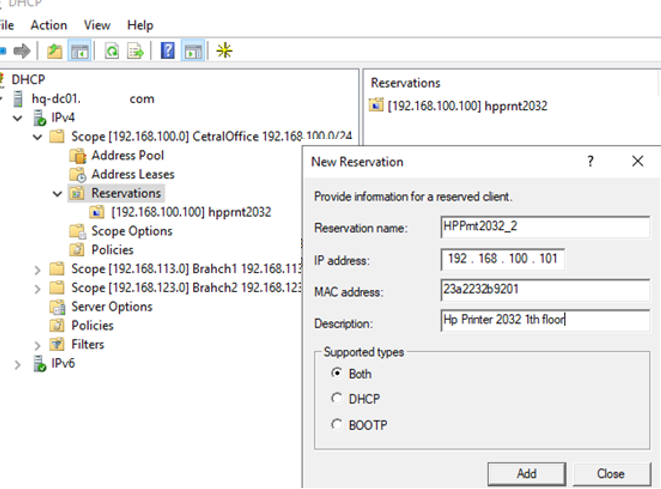 set dhcp reservation parameters and MAC address