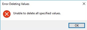 unable to remove registry parameter