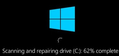 windows 10 scanning and repairing drive during boot