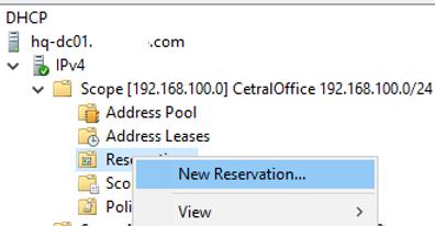 windows server - create dhcp reservation