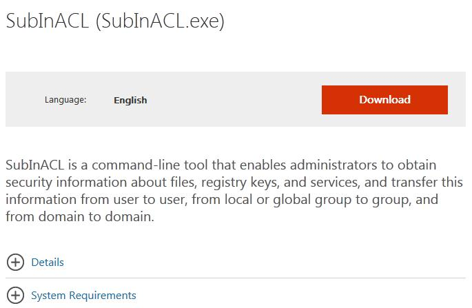 SubInACL tools