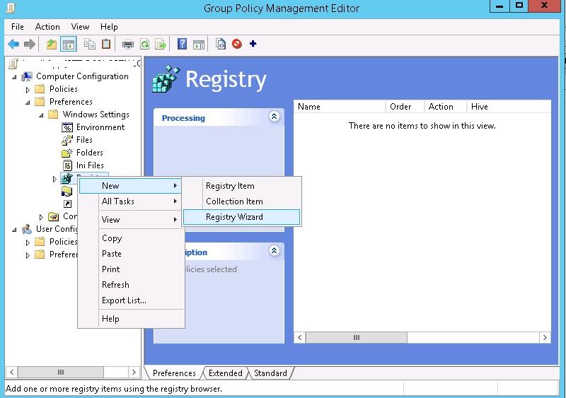 GPP console Registry Wizard