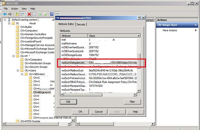 msExchDelegateListLink Active Directory atribute