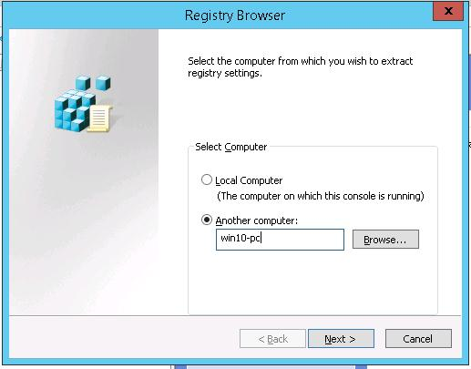 Remote registry browser