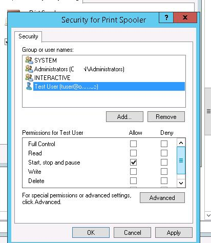 service security settings