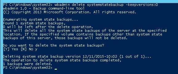 wbadmin delete systemstatebackup -keepversions:0