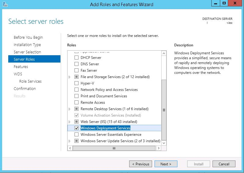 Install Windows Deployment Services on Windows 2012 R2