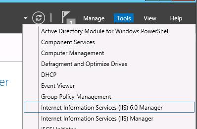 console Internet Information Services (IIS) Manager 6 console