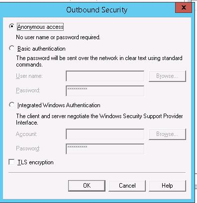 Outbound security: anonymous access