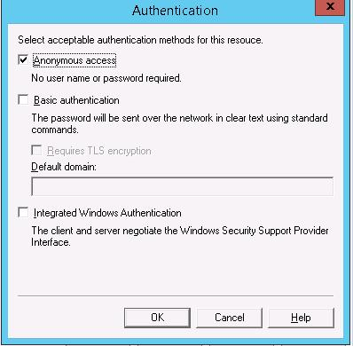 SMTP Authentication Settings: Anonymous access