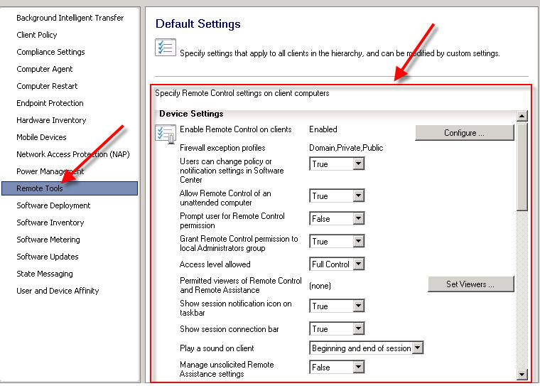 Specify remote control settings on client computers