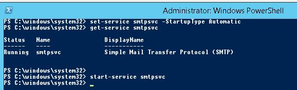 Start smtpsvc service