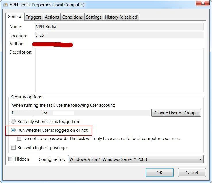 VPN Redial task